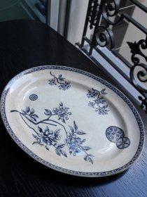 アンティーク オーバル ブルー 絵皿