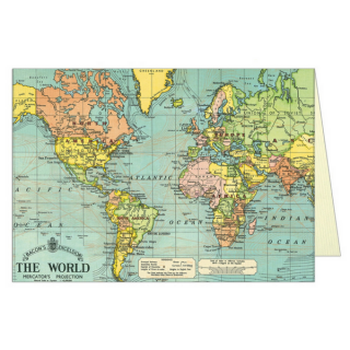 Cavallini グリーティングカード【ワールドマップ】