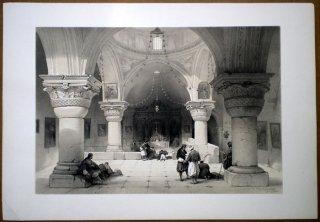 1842年 Roberts The Holy Land 初版 エルサレム 聖墳墓教会の地下聖堂 Crypt of the Holy Sepulchre Jerusalem
