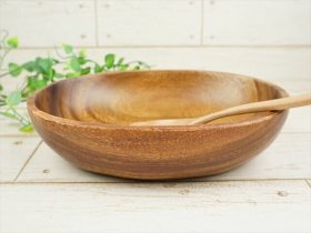 オーバルボウル/22cm カレー皿 パスタ皿 木 木製 アカシア ウッドバーニング