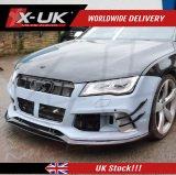 フロントスプリッタ カナード付き X-UK RS7 スタイル フロントバンパーアップグレード ・ OEM RS7 フロントバンパー