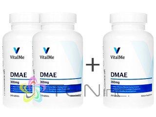 DMAE360mg 2ボトル+1ボトルサービス(240tabs x 3)(バイタルミー/USA製/国際書留)