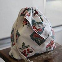 正方形の布で作る簡単巾着【無料DL】
