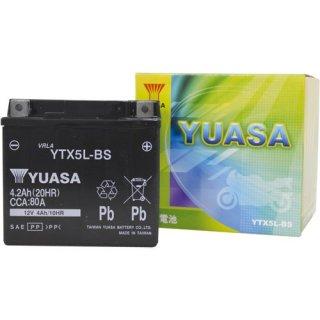 【新品保証付&激安】台湾ユアサ バイクバッテリー(液別密閉) TYTX5L-BS