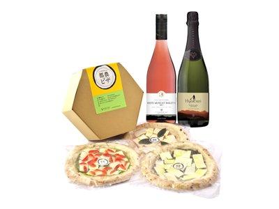 家飲みにオススメ!<br>ライトなワインと都農産ピザ3枚セット