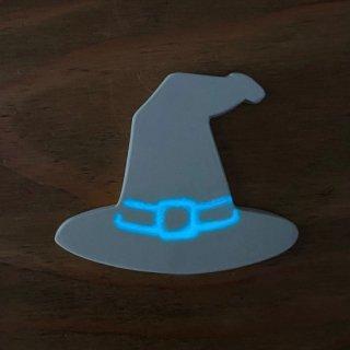 光る!ハロウィン蓄光タイル【魔女の帽子(穴なし)】/おまけ蓄光タイル3ヶ/リース作りに!【*ご注文後に蓄光加工、1週間でお届け】