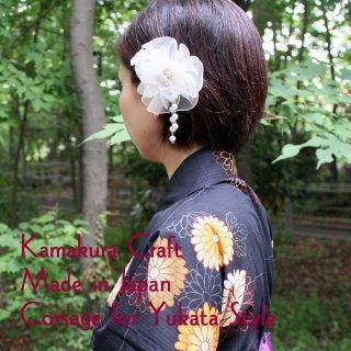 和装髪飾り クリップ 【浴衣 髪飾り】オーガンジー・ロックフリル ヘアクリップ