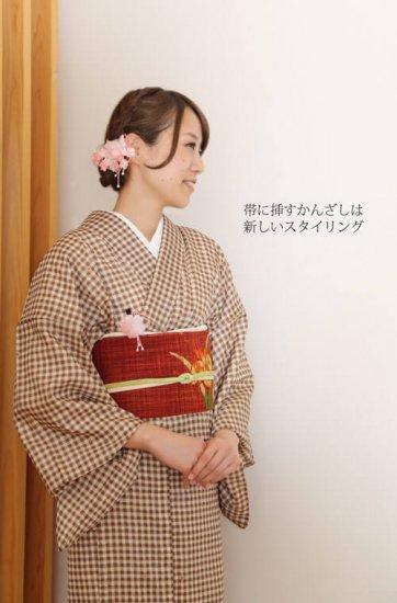 【和装 髪飾り セット】プリムラの花髪飾り かんざし クリップ 2点セット【画像3】