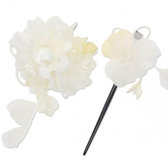 【和装 髪飾り セット】薄縮緬の花飾り クリップ かんざし 2点セット【画像11】