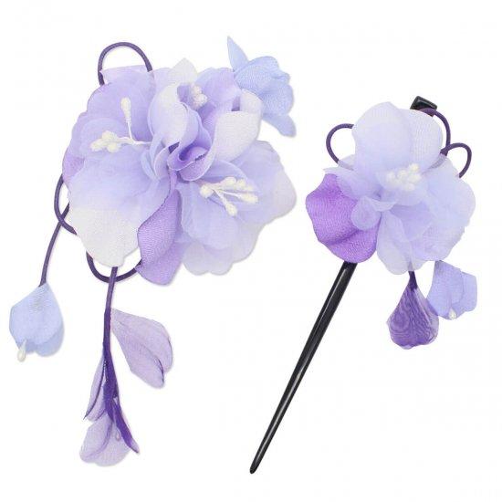 【和装 髪飾り セット】薄縮緬の花飾り クリップ かんざし 2点セット【画像13】