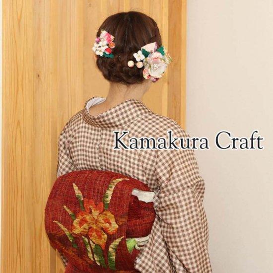 【和装 髪飾り セット】和柄のリボンと花飾り 大小2個ヘアクリップ セット【画像4】