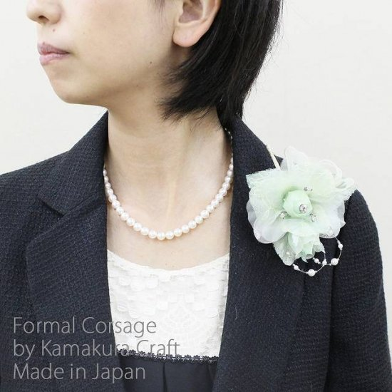 グリーンのバラ 花と蕾の二輪寄せコサージュ【画像2】