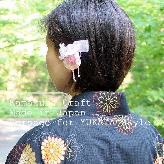 バラの鈴付き髪飾りUピンつき