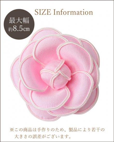 ピンクのカメリア コサージュ  グログラン生地のモノトーンタイプ【画像5】
