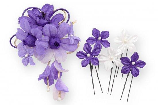 和装 髪飾り セット   蘭 花びら揺れる 和装髪飾り ヘアクリップ 1点 Uピン 5本 セット【画像20】