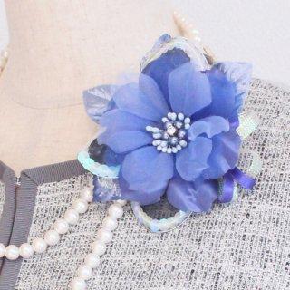 コサージュ | ネイビー ・  ブルー ・ パープル ブルー 青 小さめ コサージュ ケース付き