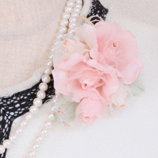 ピンク 小さい バラ コサージュ ケース付き