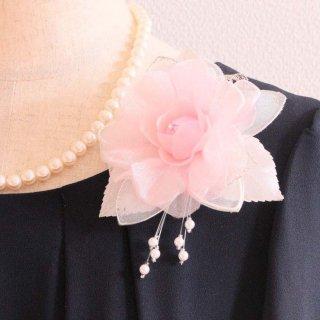 コサージュ | パール 装飾 つき ピンク 一輪 パール コサージュ ケース付き