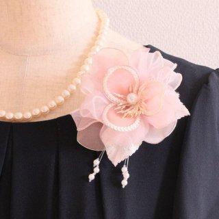 コサージュ | パール 装飾 つき ピンク 一輪 スパンコール パール コサージュ ケース付き