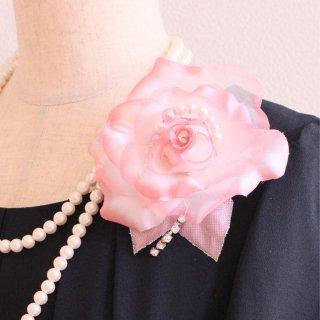 コサージュ | パール 装飾 つき ピンク バラ パール グラデーション コサージュ ケース付き
