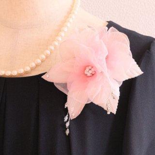 コサージュ | ビジュー ・ ラインストーン 装飾 つき ピンク 一輪 ラインストーン ビーズ コサージュ ケース付き