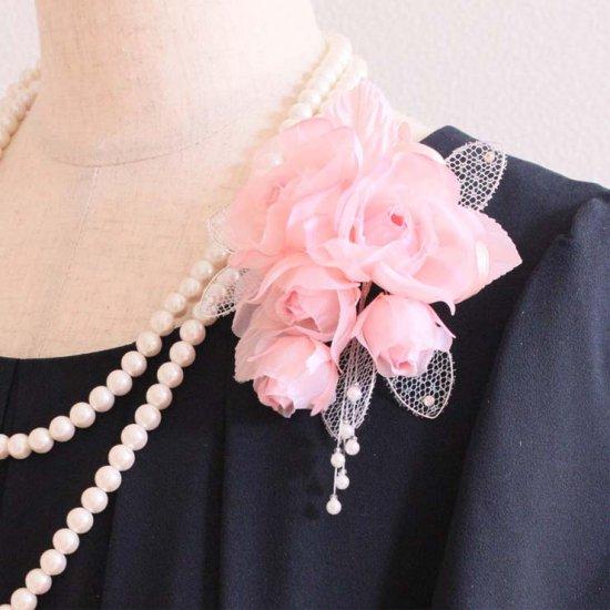 ピンク 小さい バラ 蕾 コサージュ ケース付き
