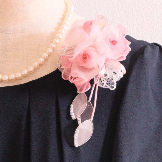 ピンク 小さい バラ 三輪 コサージュ ケース付き