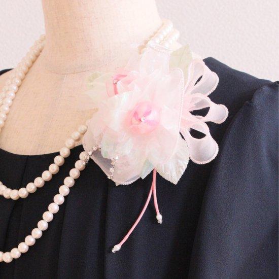 ピンク 光沢 ラインストーン バラ コサージュ ケース付き