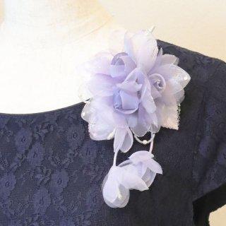 和装 髪飾り   価格で選ぶ  パープル 紫 ラメ 三輪 コサージュ ケース付き