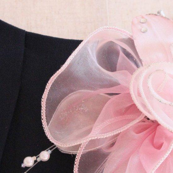 ピンク 大きい オーガンジー 巻きバラ パール コサージュ ケース付き【画像11】