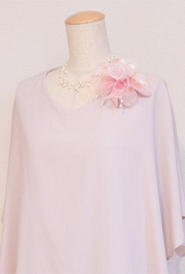 ピンク 大きい オーガンジー 巻きバラ パール コサージュ ケース付き【画像3】
