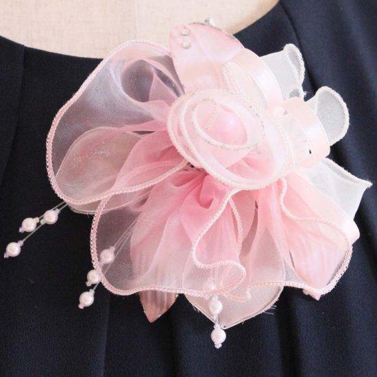 ピンク 大きい オーガンジー 巻きバラ パール コサージュ ケース付き【画像5】