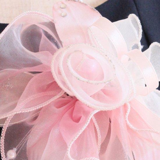 ピンク 大きい オーガンジー 巻きバラ パール コサージュ ケース付き【画像8】