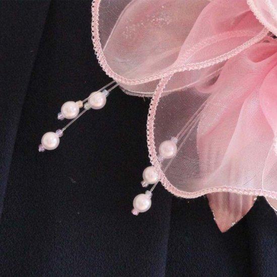ピンク 大きい オーガンジー 巻きバラ パール コサージュ ケース付き【画像9】