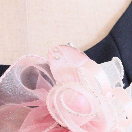 ピンク 大きい オーガンジー 巻きバラ パール コサージュ ケース付き【画像10】