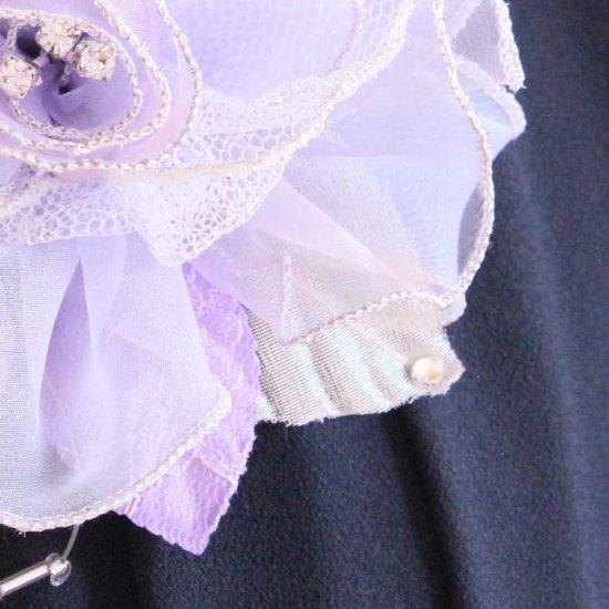 パープル 紫 大きい 巻きバラ オーガンジー コサージュ ケース付き【画像11】