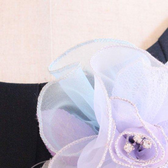 パープル 紫 大きい 巻きバラ オーガンジー コサージュ ケース付き【画像12】