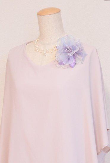 パープル 紫 大きい 巻きバラ オーガンジー コサージュ ケース付き【画像3】