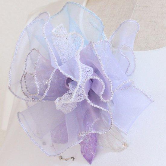 パープル 紫 大きい 巻きバラ オーガンジー コサージュ ケース付き【画像6】