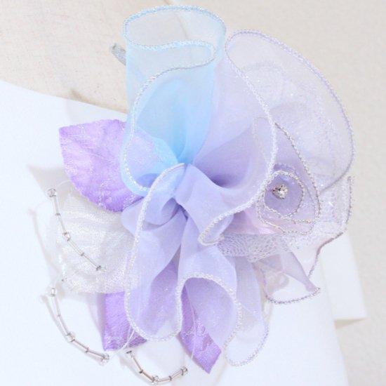 パープル 紫 大きい 巻きバラ オーガンジー コサージュ ケース付き【画像7】