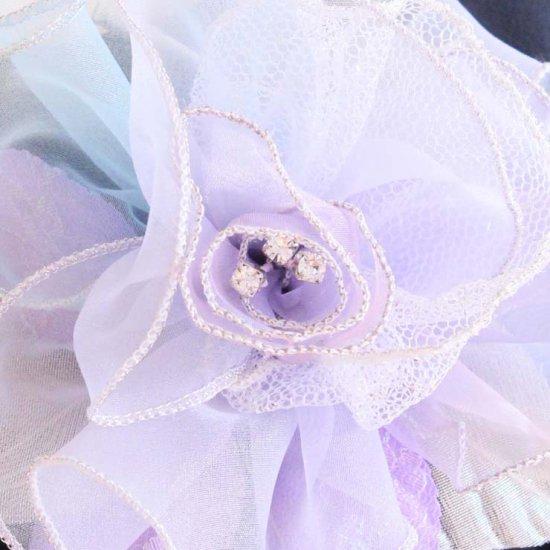 パープル 紫 大きい 巻きバラ オーガンジー コサージュ ケース付き【画像8】