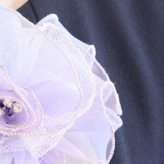パープル 紫 大きい 巻きバラ オーガンジー コサージュ ケース付き【画像10】