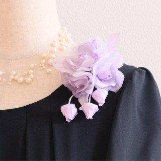 1点もの コサージュ パープル 紫 小さい バラ 蕾 下がり付き コサージュ ケース付き