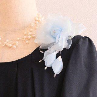 1点もの コサージュ ブルー 水色 バラ 花びら 下がり付き コサージュ ケース付き