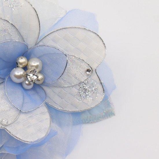 ブルー 水色 ホワイト 白 グラデーション コサージュ ケース付き【画像6】