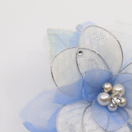 ブルー 水色 ホワイト 白 グラデーション コサージュ ケース付き【画像7】