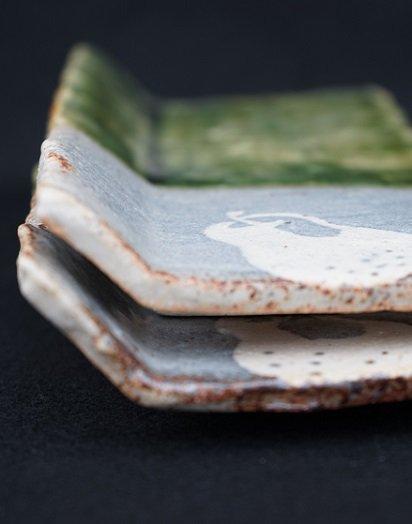 [玉山窯]織部椅子型長方皿 洋梨