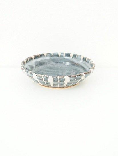 [玉山窯]鼠志野十草平鉢