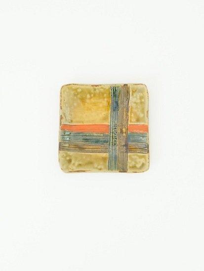 [玉山窯]黄瀬戸糸巻角皿