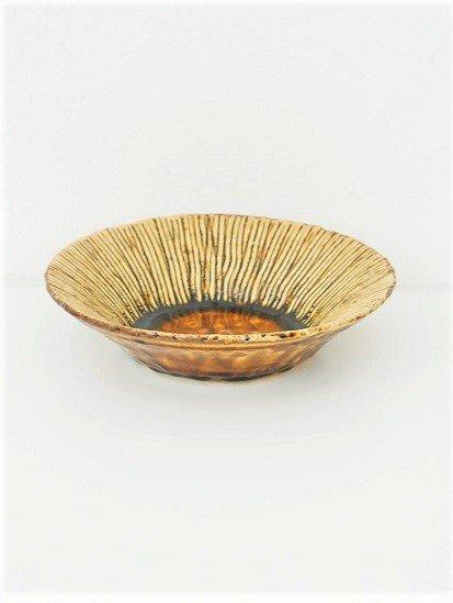 [玉山窯]黄瀬戸十草6寸鉢